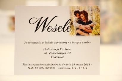 Bilecik do zaproszenia 120 x 98 mm prezenty ślubne wesele - Elegant nr 22 - Ze zdjęciem