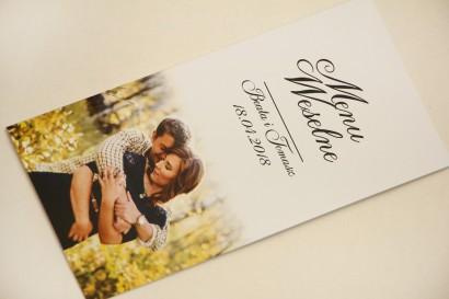 Menu weselne, stół weselny - Elegant nr 22 - Ze zdjęciem - Eleganckie wzory - dodatki ślubne