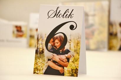 Numery stolików, stół weselny, ślub - Elegant nr 22 - Ze zdjęciem - dodatki ślubne