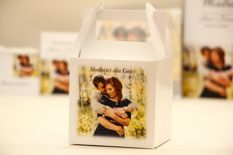 Pudełko na ciasto kwadratowe, tort weselny - Elegant nr 22 - Ze zdjęciem - dodatki ślubne