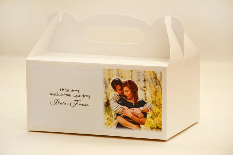 Prostokątne pudełko na ciasto, tort weselny, ślub - Elegant nr 22 - Ze zdjęciem - dodatki ślubne