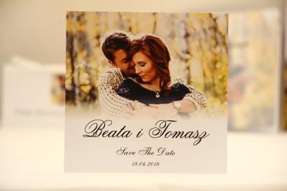 Bilecik Save The Date do zaproszenia ślubnego - Elegant nr 22 - Ze zdjęciem