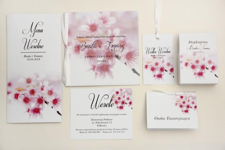 Zaproszenie ślubne z dodatkami - Elegant nr 23 - Kwiaty wiśni - Eleganckie kwiatowe z kalką