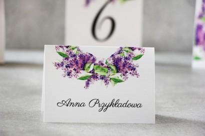 Winietki na stół weselny, ślub - Pistacjowe nr 2 - Wiosenny fioletowy bez