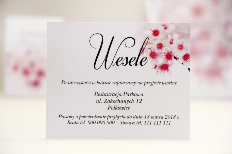 Bilecik do zaproszenia 120 x 98 mm prezenty ślubne wesele - Elegant nr 23 - Kwiaty wiśni