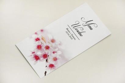 Menu weselne, stół weselny - Elegant nr 23 - Kwiaty wiśni - Eleganckie kwiatowe wzory - dodatki ślubne