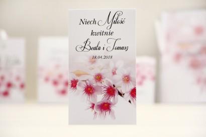 Podziękowania dla Gości weselnych - nasiona Niezapominajki - Elegant nr 23 - Kwiaty wiśni - kwiatowe dodatki ślubne