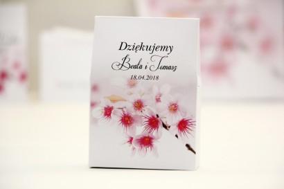 Pudełeczko stojące na cukierki, podziękowania dla Gości weselnych - Elegant nr 23 - Kwiaty wiśni - Kwiatowe dodatki ślubne