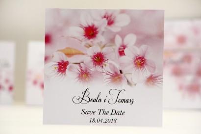 Bilecik Save The Date do zaproszenia ślubnego - Elegant nr 23 - Różowe kwiaty wiśni