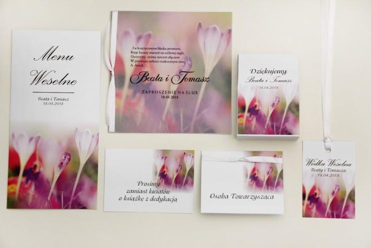 Zaproszenie ślubne z dodatkami - Elegant nr 24 - wiosenne krokusy - Eleganckie kwiatowe z kalką