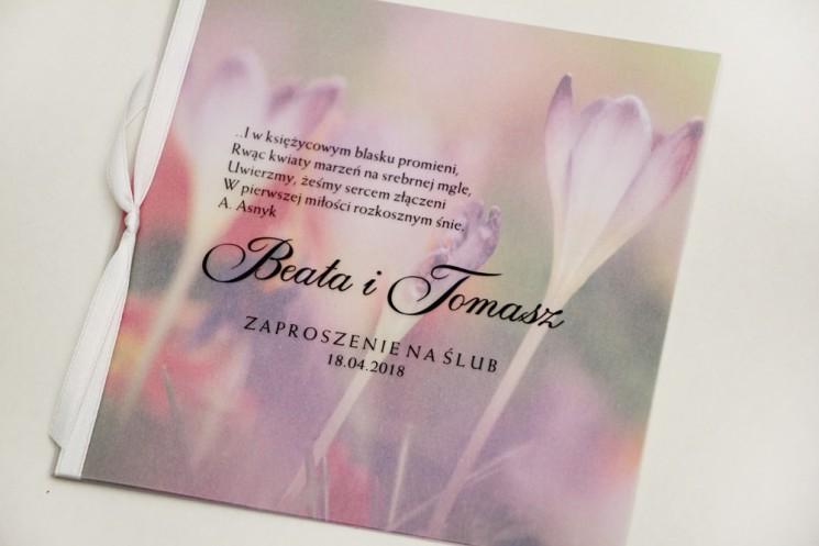 Zaproszenie ślubne, zaproszenia na ślub eleganckie z kalką - Elegant nr 24 - Wiosenne krokusy