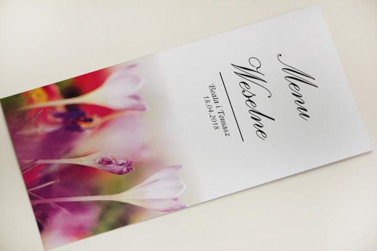 Menu weselne, stół weselny - Elegant nr 24 - Wiosenne krokusy - Eleganckie kwiatowe wzory - dodatki ślubne