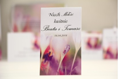 Podziękowania dla Gości weselnych - nasiona Niezapominajki - Elegant nr 24 - Krokusy - kwiatowe dodatki ślubne