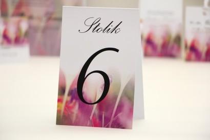Numery stolików, stół weselny, ślub - Elegant nr 24 - Krokusy - dodatki ślubne kwiatowe
