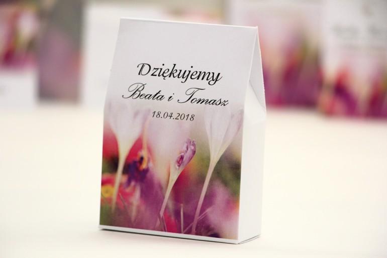Pudełeczko stojące na cukierki, podziękowania dla Gości weselnych - Elegant nr 24 - Krokusy - Kwiatowe dodatki ślubne