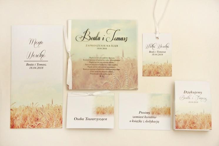 Zaproszenie ślubne z dodatkami - Elegant nr 25 - Pole pszenicy - Eleganckie kwiatowe z kalką