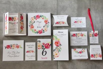 Efektowne zaproszenie ślubne w pudełku z dodatkami - Pistacjowe 3 - Intensywnie kolorowe kwiaty w barwach różu i łososiowym