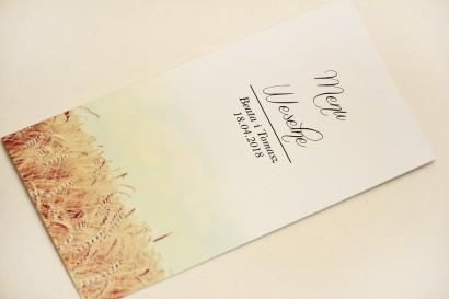 Menu weselne, stół weselny - Elegant nr 25 - Pole pszenicy - Eleganckie kwiatowe wzory - dodatki ślubne