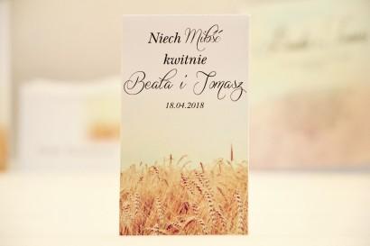 Podziękowania dla Gości weselnych - nasiona Niezapominajki - Elegant nr 25 - Pole pszenicy - kwiatowe dodatki ślubne