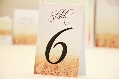 Numery stolików, stół weselny, ślub - Elegant nr 25 - Pole pszenicy - dodatki ślubne