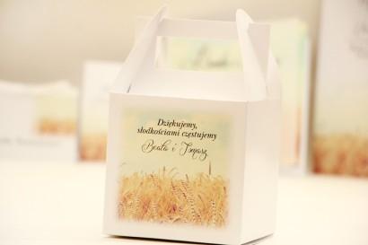 Pudełko na ciasto kwadratowe, tort weselny - Elegant nr 25 - Pole pszenicy - kwiatowe dodatki ślubne