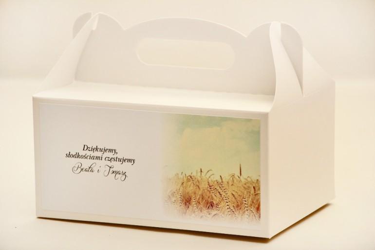 Prostokątne pudełko na ciasto, tort weselny, ślub - Elegant nr 25 - Pole pszenicy - kwiatowe dodatki ślubne