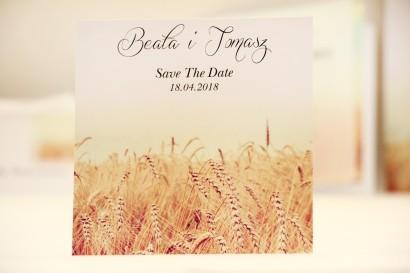 Bilecik Save The Date do zaproszenia ślubnego - Elegant nr 25 - Pole pszenicy
