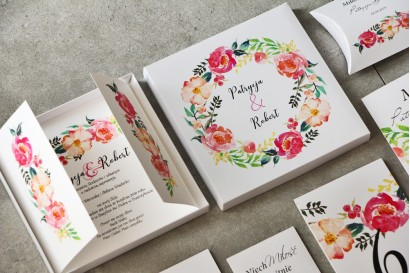 Efektowne Zaproszenie ślubne w pudełku - Pistacjowe nr 3 - Wianek kwiatów w barwach różu i łososiowym