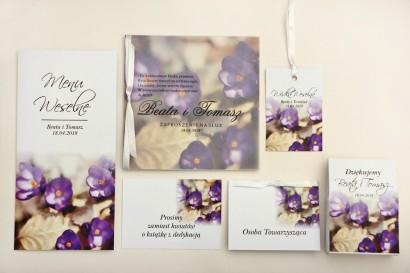 Zaproszenie ślubne z dodatkami - Elegant nr 26 - Fioletowe krokusy - Eleganckie kwiatowe z kalką