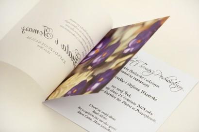 Zaproszenie ślubne, zaproszenia na ślub eleganckie z kalką - Elegant nr  26 - Fioletowe krokusy