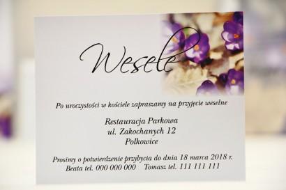 Bilecik do zaproszenia 120 x 98 mm prezenty ślubne wesele - Elegant nr 26 - Fioletowe krokusy