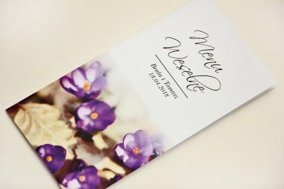 Menu weselne, stół weselny - Elegant nr 26 - Fioletowe krokusy - Eleganckie kwiatowe wzory - dodatki ślubne