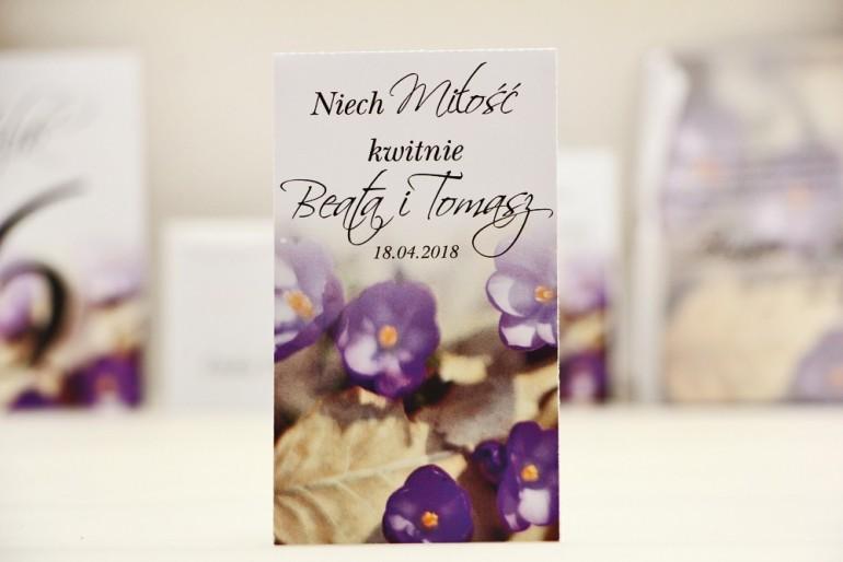 Podziękowania dla Gości weselnych - nasiona Niezapominajki - Elegant nr 26 - Krokusy - kwiatowe dodatki ślubne
