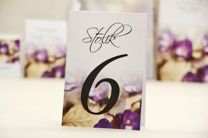 Numery stolików, stół weselny, ślub - Elegant nr 26 - Krokusy - dodatki ślubne