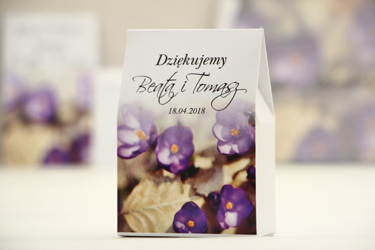 Pudełeczko stojące na cukierki, podziękowania dla Gości weselnych - Elegant nr 26 - Krokusy - Kwiatowe dodatki ślubne