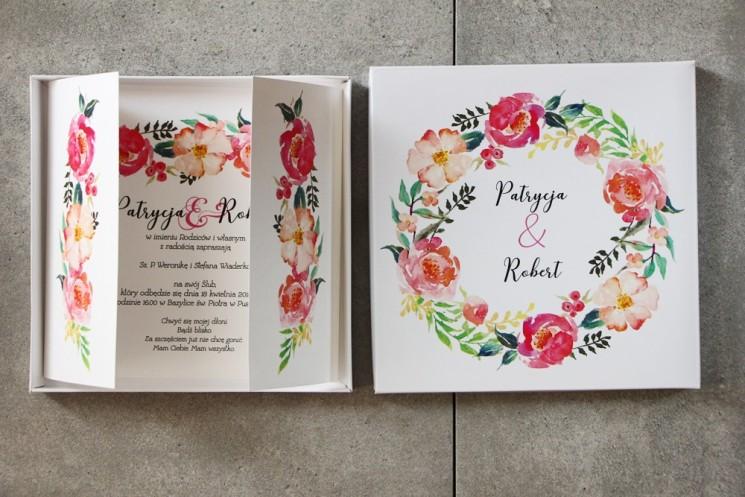 Efektowne Zaproszenie ślubne w pudełku - Pistacjowe nr 3 - Intensywnie różowe kwiaty