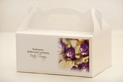 Prostokątne pudełko na ciasto, tort weselny, ślub - Elegant nr 26 - Fioletowe krokusy - kwiatowe dodatki ślubne