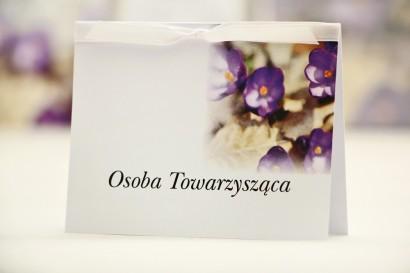 Winietki na stół weselny, ślub - Elegant nr 26 - Krokusy - kwiatowe dodatki ślubne