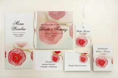 Zaproszenie ślubne z dodatkami - Elegant nr 27 - Różowe jaskry - Eleganckie kwiatowe z kalką