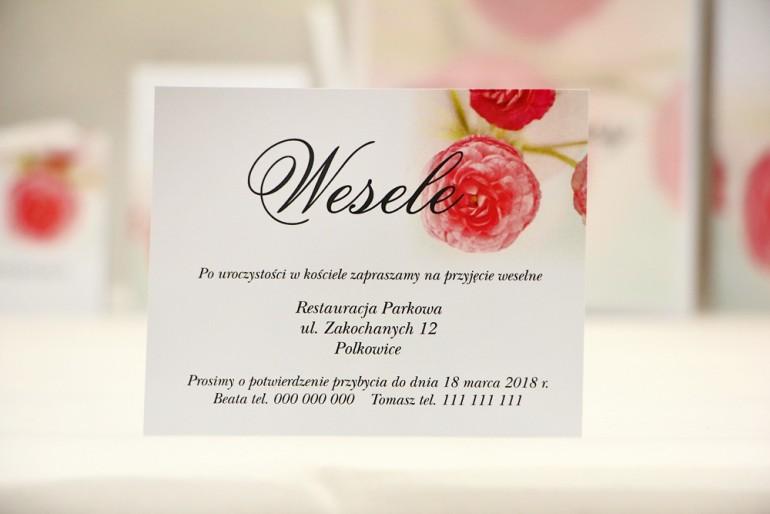 Bilecik do zaproszenia 120 x 98 mm prezenty ślubne wesele - Elegant nr 27 - Różowe jaskry