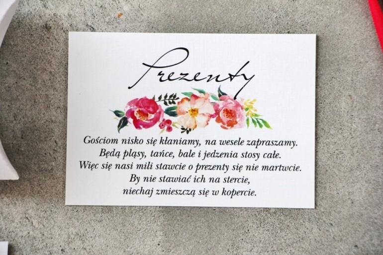 Bilecik do zaproszenia 105 x 74 mm prezenty ślubne wesele - Pistacjowe nr 3 - Łososiowe i różowe kwiaty w intensywnych barwach