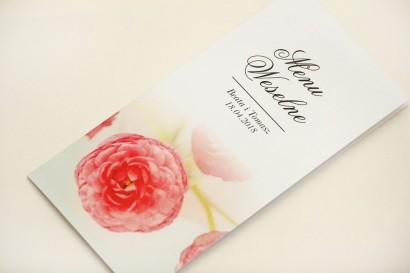 Menu weselne, stół weselny - Elegant nr 27 - Różowe jaskry - Eleganckie kwiatowe wzory - dodatki ślubne