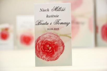 Podziękowania dla Gości weselnych - nasiona Niezapominajki - Elegant nr 27 - Różowe jaskry - kwiatowe dodatki ślubne