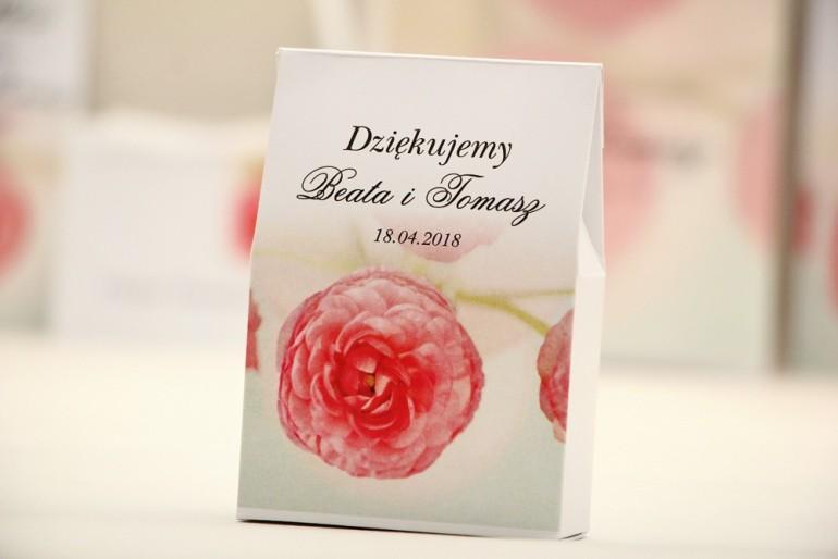 Pudełeczko stojące na cukierki, podziękowania dla Gości weselnych - Elegant nr 27 - Różowe jaskry - Kwiatowe dodatki ślubne