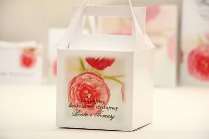 Pudełko na ciasto kwadratowe, tort weselny - Elegant nr 27 - Różowe jaskry - kwiatowe dodatki ślubne