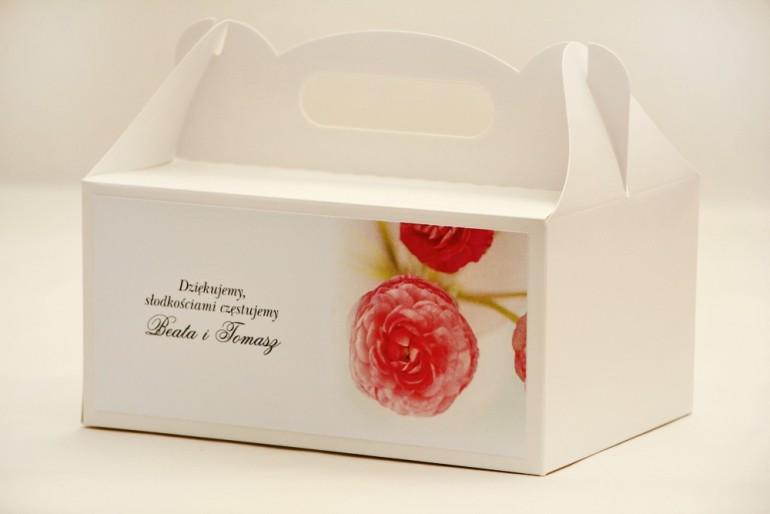 Prostokątne pudełko na ciasto, tort weselny, ślub - Elegant nr 27 - Różowe jaskry - kwiatowe dodatki ślubne