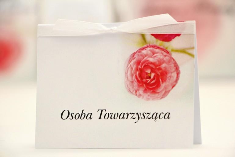 Winietki na stół weselny, ślub - Elegant nr 27 - Różowe jaskry - kwiatowe dodatki ślubne