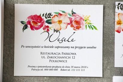 Bilecik do zaproszenia 120 x 98 mm prezenty ślubne wesele - Pistacjowe nr 3 - Różowe i łososiowe kwiaty w intensywnych barwach