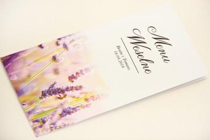 Menu weselne, stół weselny - Elegant nr 28 - Lawendowe pole - Eleganckie kwiatowe wzory - dodatki ślubne
