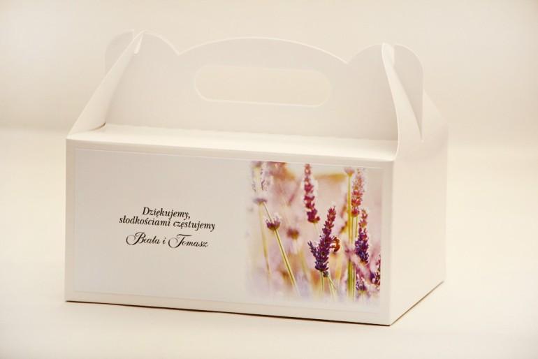Prostokątne pudełko na ciasto, tort weselny, ślub - Elegant nr 28 - Lawendowe pole - kwiatowe dodatki ślubne